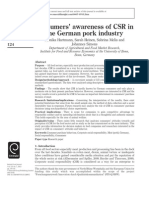 Consumers' awareness of CSR in German Pork Industry