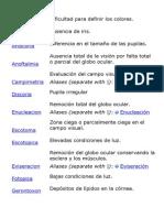 Breve Diccionario de Terminos Oftalmo