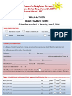 8K Walk-A-Thon  Registration Form 2014
