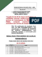 Result a Do Proviso Rio 2014