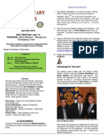 Moraga Rotary Newsletter- April 8, 2014