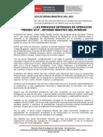 """SE ELEVA A 28 LAS PERSONAS DETENIDAS EN OPERACIÓN """"PERSEO 2014"""", INFORMÓ MINISTRO DEL INTERIOR.doc"""