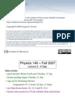 Physics140 f07 Lecture2 MICHIGAN