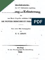 Übersetzung und Erläuterung der von Mart. Capella verfassten 2 Bücher De nuptiis Mercurii et Philologiae - Graff. (1837)