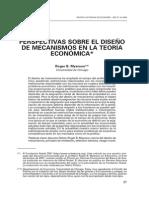 Perspectivas sobre el diseño de mecanismos en la teoria economica