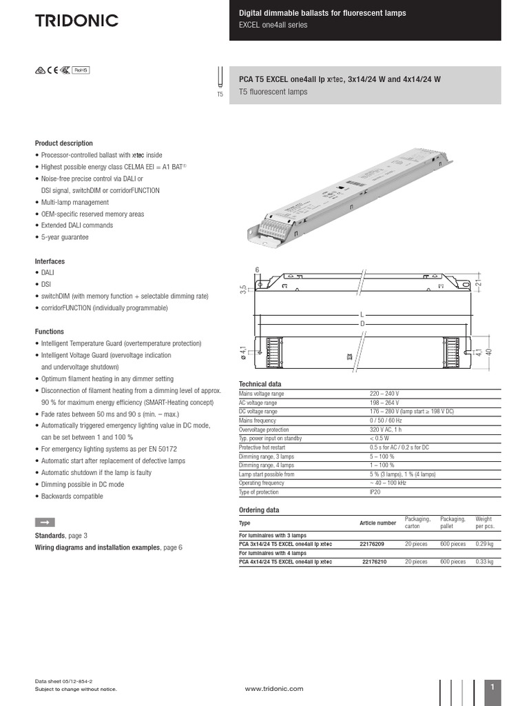 Tridonic Digital Dimmable Ballast Wiring Diagram Essig Dimming Data Sheet Mains Electricity Circline