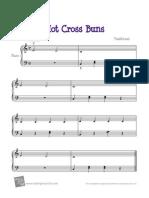 Hot Cross Buns Piano Solo