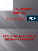 CSM Pyschosis Sheehan's Syndrome