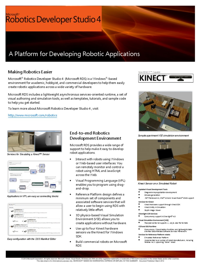 Microsoft Robotics Developer Studio 4 Datasheet En