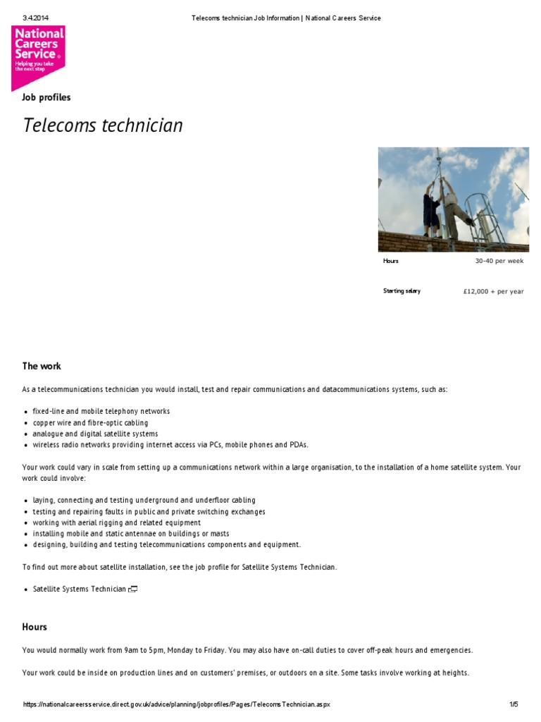 Telecoms Technician Job Information National Careers Service Telecommunication Apprenticeship