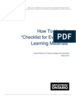 How to Use the Checklist for Evaluating Learning Materials