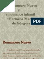 """Romancero Nuevo y el Poema """"Hermana Marica"""" de Gongora"""