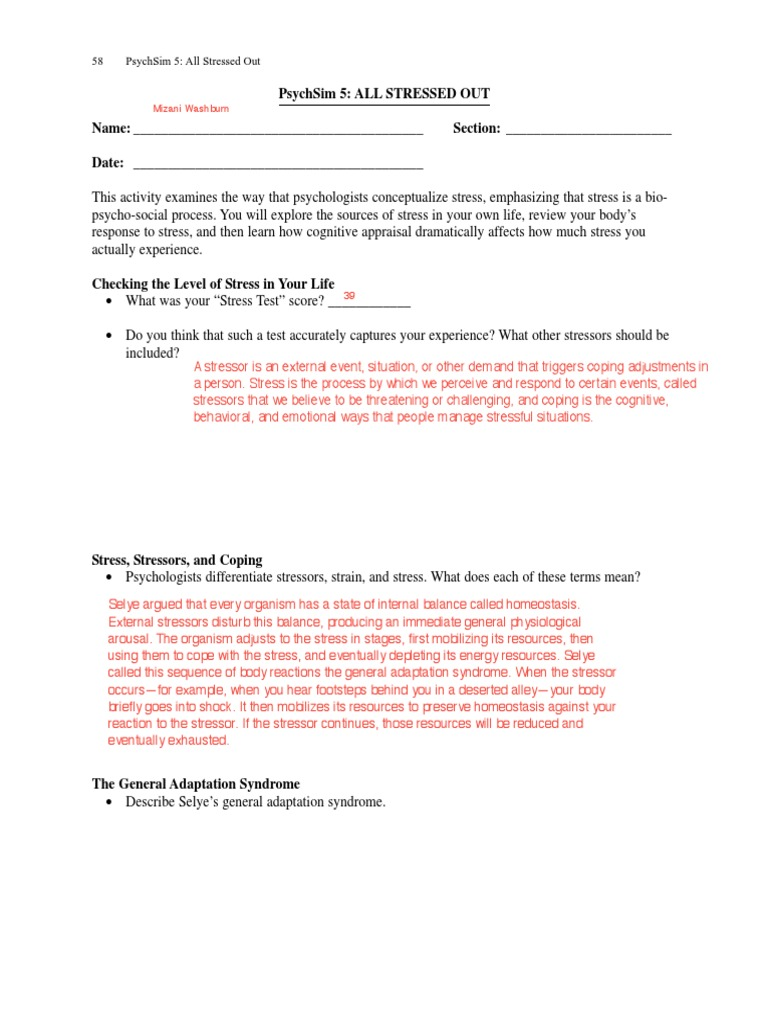 Uncategorized Psychsim 5 Worksheet Answers 34 stressedout axis stress biology