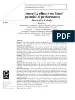 Outsourcing Effects on Firms Operational Performance an Empirical Study