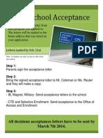 high school acceptance flyer