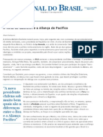 Jornal do Brasil - Coisas da Política - A volta de Bachelet e a Aliança do Pacífico