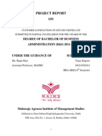 project report onCUSTOMER SATISFACTION OF ICICI SECURITIES LTD