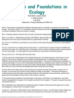 Frontiers and Foundations in Ecology