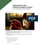 El cerebro adolescente es más propenso al daño por drogas y alcohol