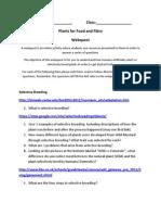 plants for food and fibre webquest