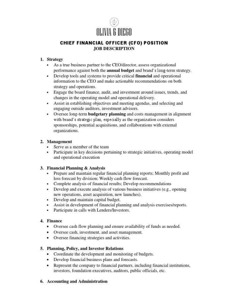 O D Cfo Job Description Chief Financial Officer Audit