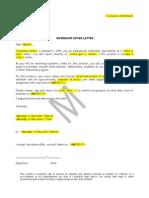 Internship Offer Letter Sample