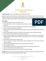 Quality Control & Quality Assurance Engineer - Job Description