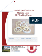 Sepcification for Machine Made FRP Backing Flange