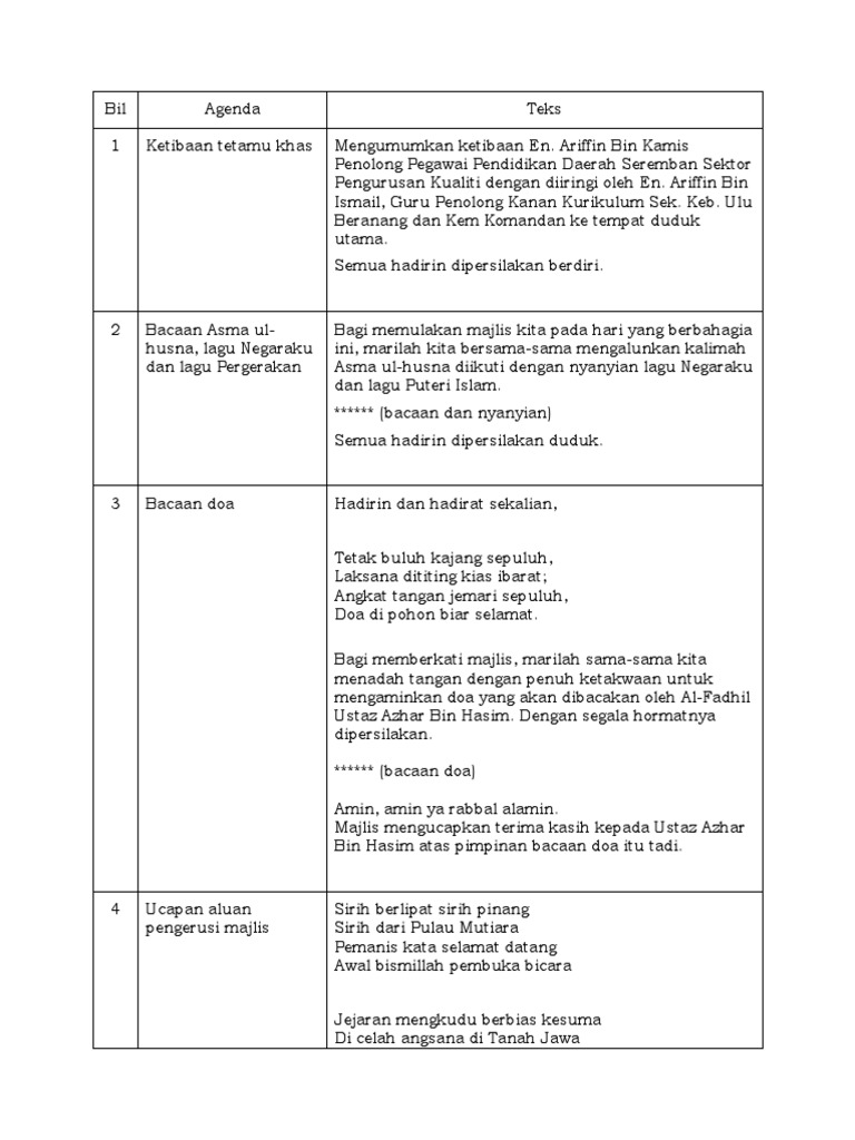 Teks Pengacara Majlis Penutup Perkhemahan