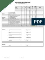 Six Sigma Supplier Evaluation Form