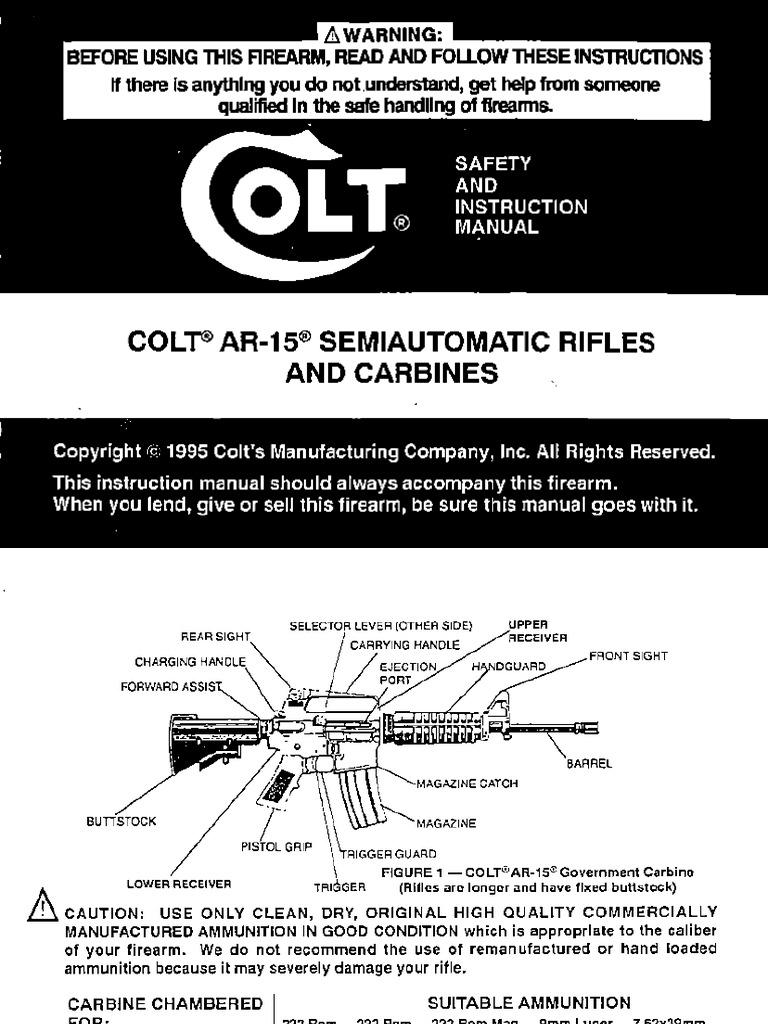 colt ar 15 owners manual rh scribd com colt ar 15 sporter owners manual colt ar-15 sp1 owners manual