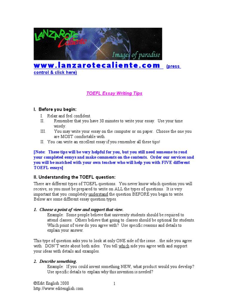 five types of toefl essays
