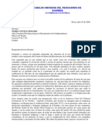 Carta de Lorenzo Muelas Hurtado sobre el Comité de Honor del Bicentenario