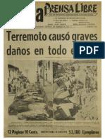 Prensa Libre edición 1976 día terremoto