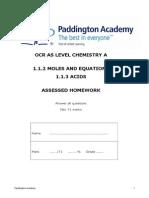 Moles, Equations and Acids ocr A unit 1