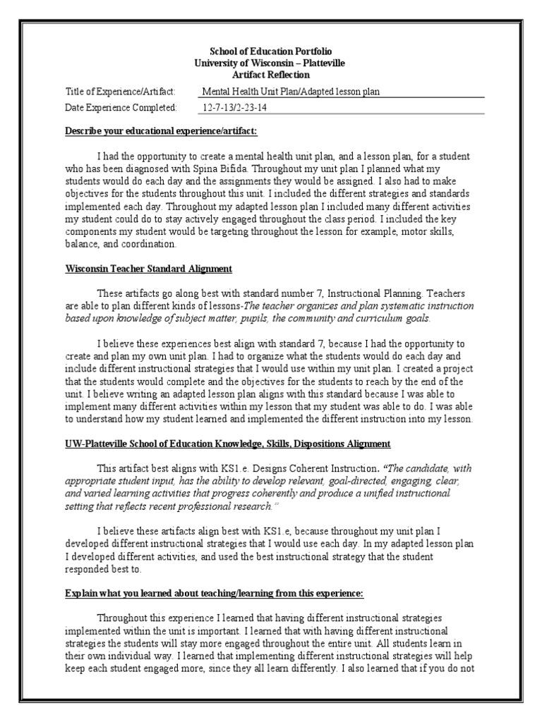 artifact 2 standard 7 unit plan applied psychology epistemology - Describe Your Educational Experience