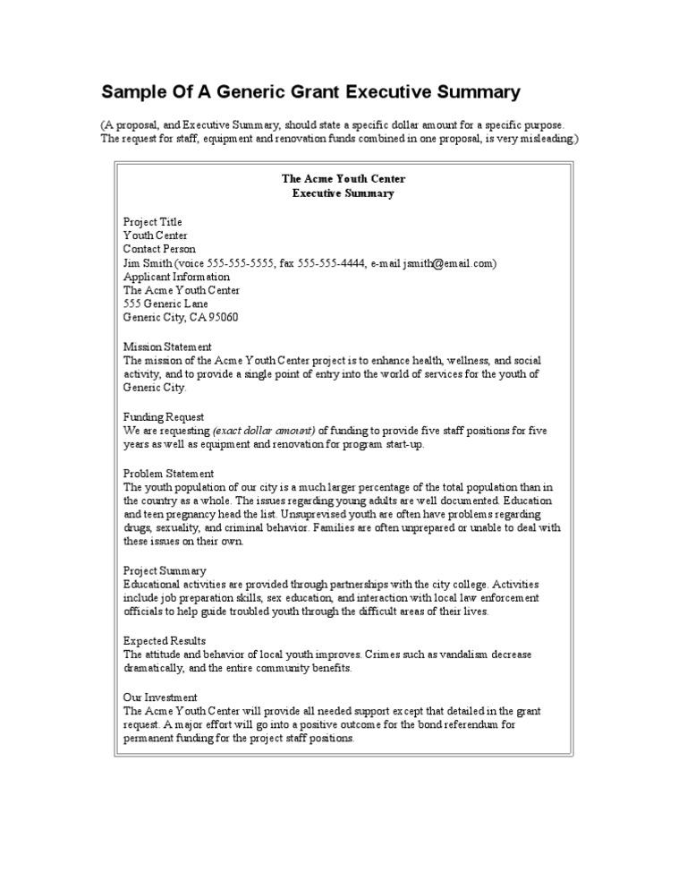 Sample of a Generic Grant Executive Summary