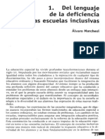 Del Lenguaje de La Deficiencia a Las Escuelas Inclusivas