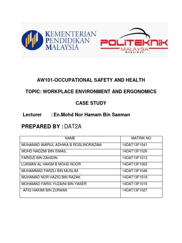 Laporan Osha Occupational Safety And Health Human Factors And Ergonomics