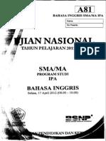 Naskah Soal UN Bahasa Inggris SMA 2012 Paket A81