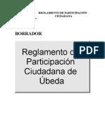 Borrador Reglamento Participación Ciudadana Úbeda 26-02-08
