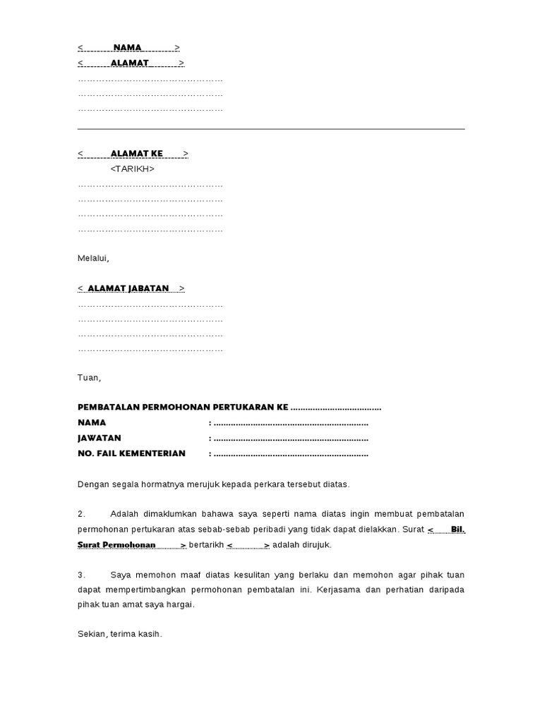Contoh Surat Pembatalan Pertukaran