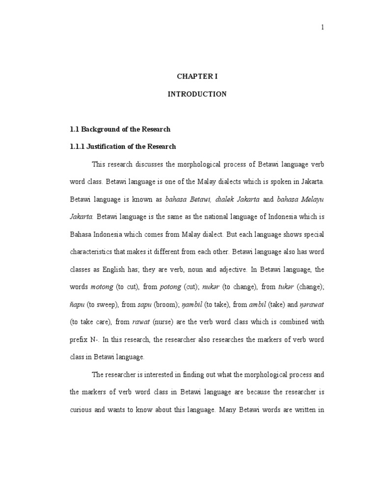 Chapter I Part Of Speech Morphology Linguistics