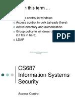 CS687 - Access Control 1 Spring 2013