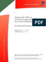 Finanzierungsmöglichkeiten einer KMU in der EU