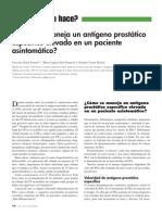 Cómo se maneja un antígeno prostático específico elevado en un paciente asintomático