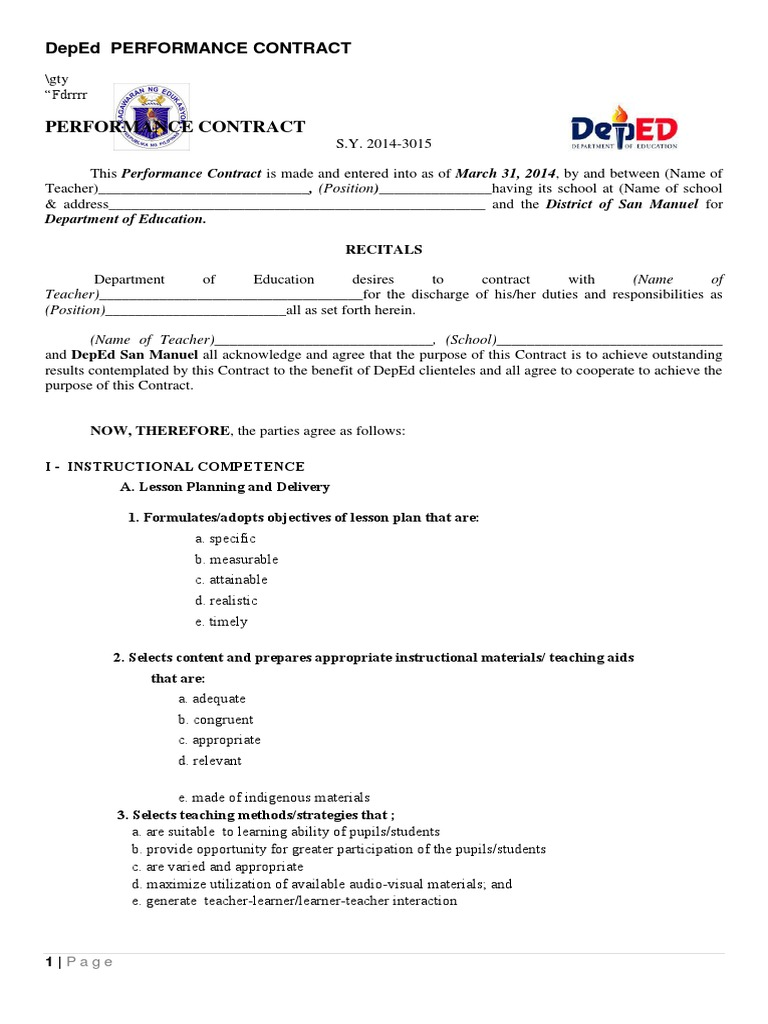Deped Performance Contract Template Educational Assessment