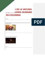 vÍCTIMAS DE LA VACUNA DEL PAPILOMA HUMANO EN COLOMBIA