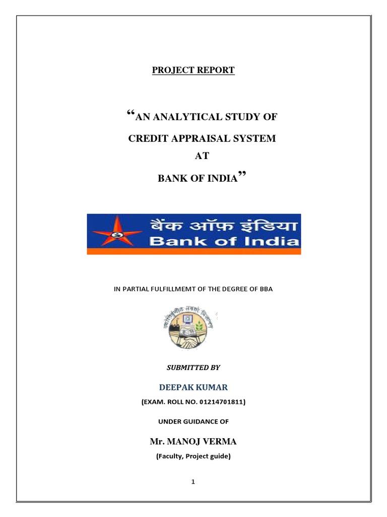Summer Internship Project Report on Analysis of Credit
