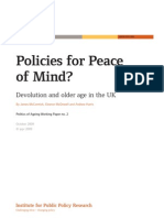 Policies for Peace of Mind? Devolution and older age in the UK